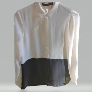 Zara Black & White Colorblock blouse